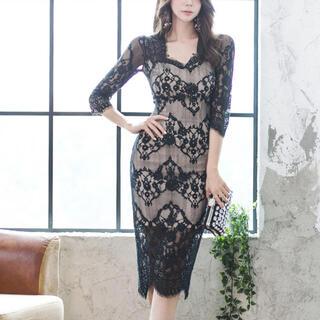 デイジーストア(dazzy store)のレースデザインワンピース 膝丈 ドレス ミディアム丈 結婚式(ナイトドレス)