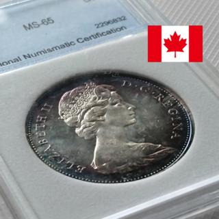 カナダ 銀貨 1ドル カヌーダラー 鑑定済み 1枚(貨幣)