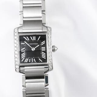 Cartier - 【仕上済】カルティエ タンク フランセーズ 黒文字盤 SM ダイヤ 腕時計