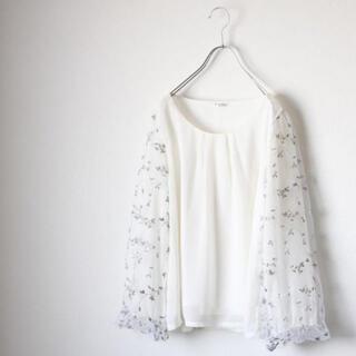 axes femme - 【当店2点以上購入値引き】袖花柄刺繍ブラウス【axesfemme】
