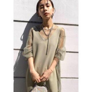 Ameri VINTAGE - AmeriVINTAGE★TULLE DOCKING DRESSセージSサイズ