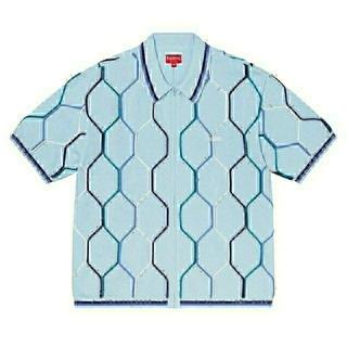 シュプリーム(Supreme)のSupreme Hex Zip Up Polo L Blue(ポロシャツ)