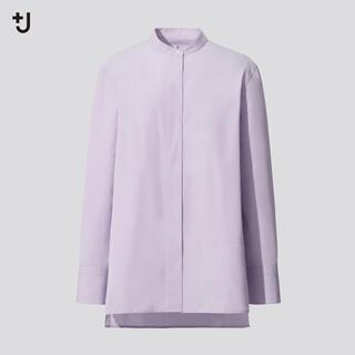 +J ユニクロ スーピマコットンスタンドカラーシャツ S
