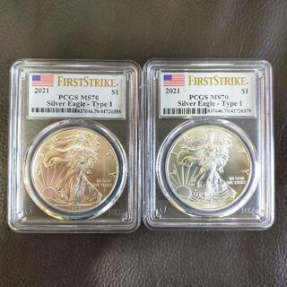 【新品】2021 アメリカ イーグル銀貨 PCGS MS70 2枚セット(貨幣)