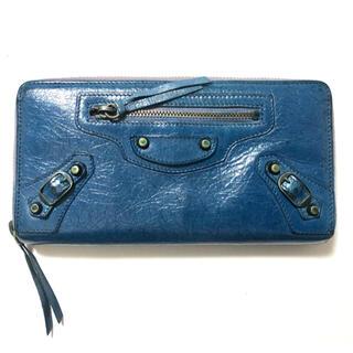 バレンシアガ(Balenciaga)のBALENCIAGA バレンシアガラウンドファスナー長財布 ブルー ゴートスキン(財布)