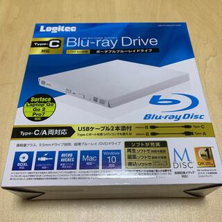 新品 ロジテック Type-C対応 ポータブルBDドライブ ホワイト(PC周辺機器)