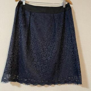 自由区 - ★ 美品 ★自由区 レーススカート 大きいサイズ ネイビー 44