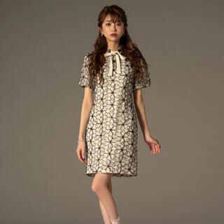 【新品】エミリアウィズ  刺繍レース パフスリーブ ワンピース ホワイト