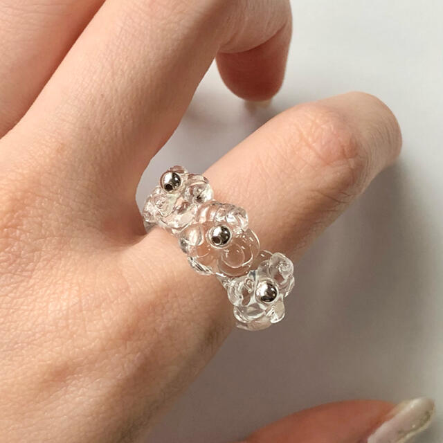 watery ring silver flower ハンドメイドのアクセサリー(リング)の商品写真