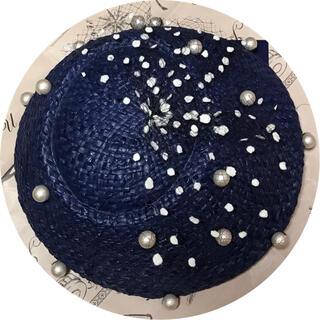 カオリノモリ(カオリノモリ)のカオリノモリ 麦わらベレー帽 ネイビー(ハンチング/ベレー帽)