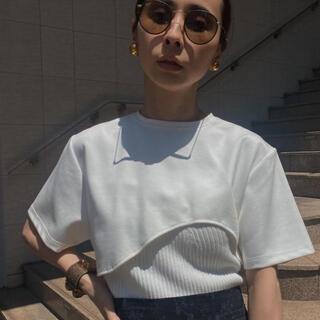 アメリヴィンテージ(Ameri VINTAGE)のameri アメリ MEDI KNIT BUSTIER COMBI TEE(Tシャツ(半袖/袖なし))