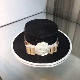 グッチ(Gucci)のGucci 金色リボン帽子(麦わら帽子/ストローハット)