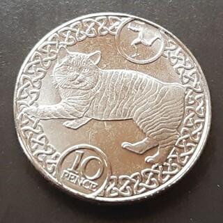マン島 10ペンス コイン マンクス猫のデザインエリザベス女王 2019年 本(貨幣)
