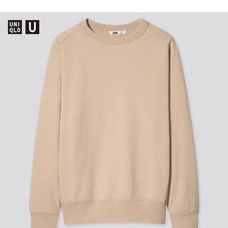 ユニクロ(UNIQLO)のワイドフィットスウェットシャツ xs ベージュ(スウェット)