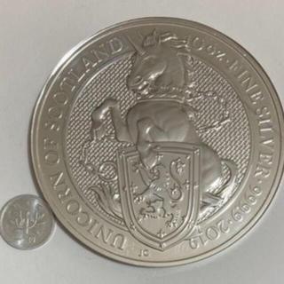 クイーンズビースト「ユニコーン」10オンス銀貨(地金型)2019年英国発行(貨幣)