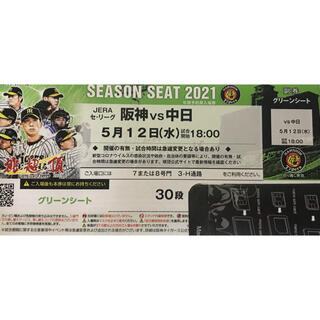 ハンシンタイガース(阪神タイガース)の阪神 vs 中日 グリーンシート 通路側 5月12日(水) 18:00-(野球)