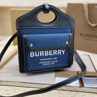 BURBERRY - ミニ ツートン キャンバス&レザー ポケットバッグ