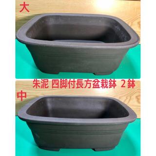 朱泥 四脚付長方盆栽鉢 2鉢 (陶芸)