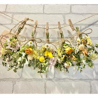 ドライフラワー スワッグ ガーランド❁249 黄色 ナチュラル 薔薇 花束♪(ドライフラワー)