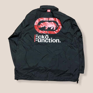 エコーアンリミテッド(ECKO UNLTD)の00s Ecko Function ビッグロゴ 袖ライン ナイロンジャケット M(ナイロンジャケット)