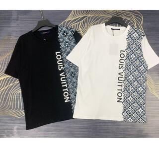 ルイヴィトン(LOUIS VUITTON)の2021年の新しいフロントとリアの片側文字パターン半袖Tシャツ(Tシャツ/カットソー(半袖/袖なし))