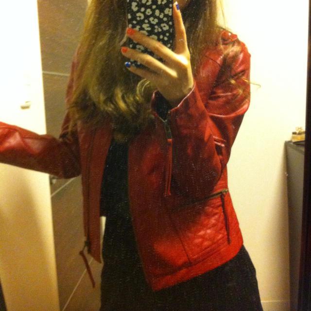 FREE'S MART(フリーズマート)の赤 ライダース レディースのジャケット/アウター(ライダースジャケット)の商品写真