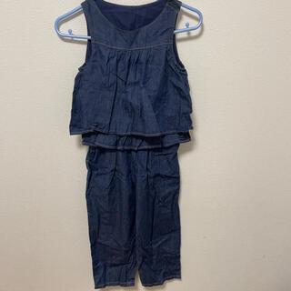 ジーユー(GU)のGU セットアップ ワンピース 紺 シャツ 120cm(ワンピース)
