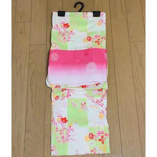【9月処分】浴衣帯2点セット 黄緑 ピンク 赤 黄色 白(浴衣)