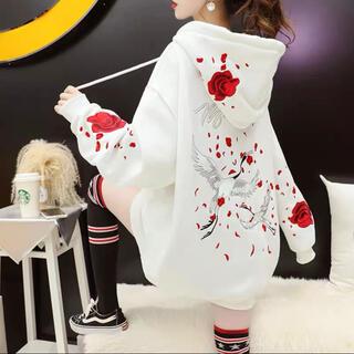 大人気☆刺繍 裏起毛 インスタ映え 薔薇 鶴 パーカー スウェット 韓国 長袖