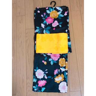 【9月処分】浴衣帯2点セット 紺 ピンク 緑 黄色 白(浴衣)
