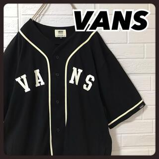VANS - バンズ ベースボールシャツ 黒 両面プリント サイドポケット