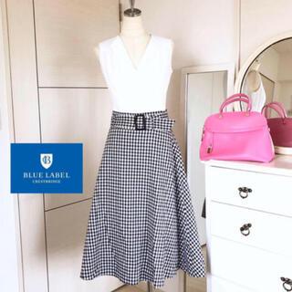 美品 店舗限定 バーバリーブルーレーベル クレストブリッジ  ロングスカート (ひざ丈スカート)