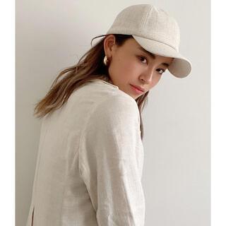 アリシアスタン(ALEXIA STAM)のLeather Buckle Linen Cap Ivory(キャップ)