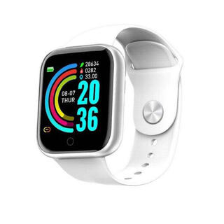 ホワイト 最新型2021 Y-68 スマートウォッチ 歩数計 通知機能(腕時計(デジタル))