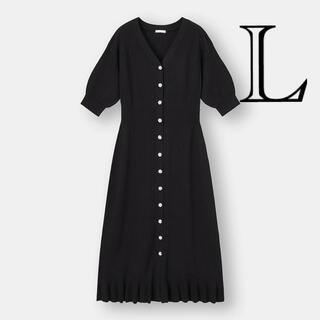ジーユー(GU)のGU☆2wayリブフリルロングカーディガン5分袖☆ブラック☆サイズ☆新品L(カーディガン)