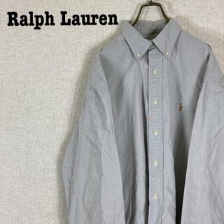 Ralph Lauren - 90s ラルフローレン BDシャツ ワンポイント 刺繍ロゴ グレー ゆるだぼ