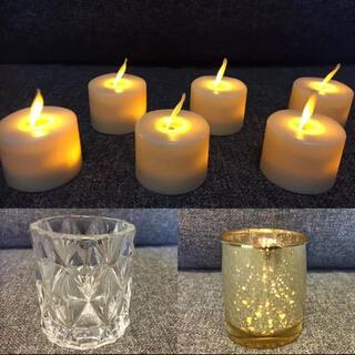 LEDキャンドル・ゴールドグラス・キャンドルホルダー 各15個セット(キャンドル)