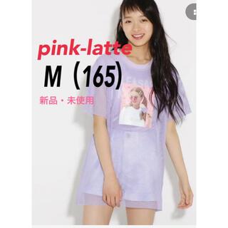 ピンクラテ(PINK-latte)の【新品】ピンクラテ メッシュ重ね転写 Tシャツ M 165 ライトパープル(Tシャツ(半袖/袖なし))