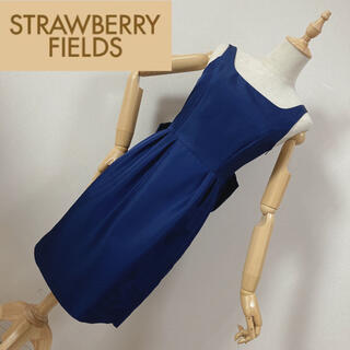 STRAWBERRY-FIELDS - ストロベリーフィールズ バックリボンワンピース ネイビー