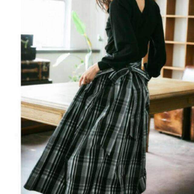 FRAY I.D(フレイアイディー)のFRAY I.D リボンタフタ チェックロングスカート フレイアイディ レディースのスカート(ロングスカート)の商品写真
