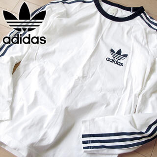 美品 S adidas 90's メンズ  長袖カットソー/ロンT ホワイト