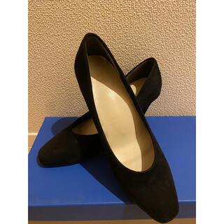 Menue*メヌエ スクエアトゥ スエード パンプス 黒 ブラック 24cm
