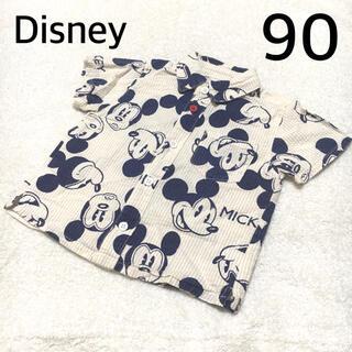 ディズニー(Disney)の【古着】半袖シャツ子供服90ベビー服ミッキー男の子ディズニー春服夏服ストライプ(ブラウス)