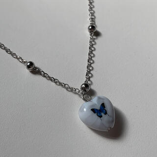 Bubbles - Blue butterfly necklace -a