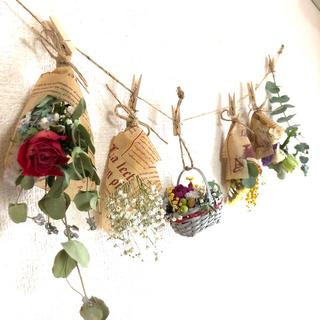6点  ガーランド かごの中に花畑 〜薔薇とユーカリ15種類のドライフラワー〜(ドライフラワー)
