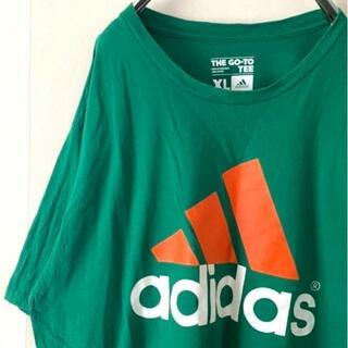 アディダス(adidas)のアディダス デカロゴ Tシャツ XL グリーン 緑 古着(Tシャツ/カットソー(半袖/袖なし))