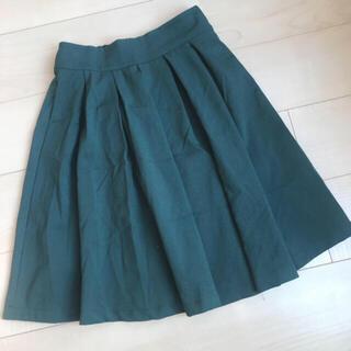 エムズエキサイト(EMSEXCITE)の☆新品同様☆ グリーン 緑 スカート フレアスカート プリーツスカート 膝丈 M(ひざ丈スカート)