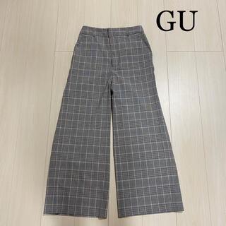 ジーユー(GU)のGU タータンチェック グレー ワイドパンツ(カジュアルパンツ)
