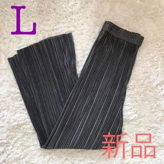 しまむら - プリーツ ワイド パンツ チャコール L