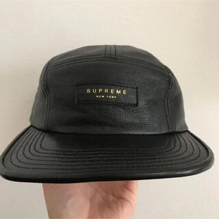 Supreme - supreme レザーキャップ 黒 シュプリーム